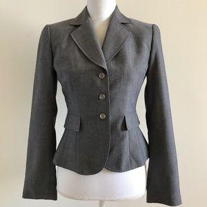 Tahari ASL Levine Petite Gray Blazer Jacket 2P *